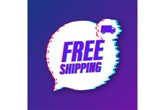 Free shipping. Glitch icon. Badge with truck. Product Image 1