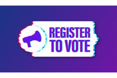Megaphone banner with Register to vote. Glitch icon. Product Image 1