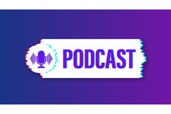 Podcast glitch icon. Badge, icon, stamp, logo. Vector stock Product Image 1