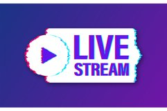 Live stream glitch logo, news and TV or online broadcasting. Product Image 1