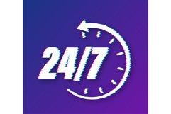 24-7 service concept. 24-7 open. Support service glitch icon Product Image 1