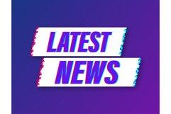 Latest news glitch icon. Megaphone banner. Web design. Product Image 1