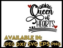 Queen of hearts svg JPEG Silhouette Cricut crown valentine Product Image 2
