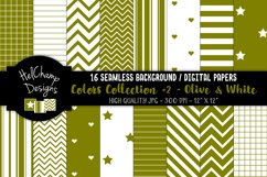 16 seamless Digital Papers - Olive and White - HC167 Product Image 1