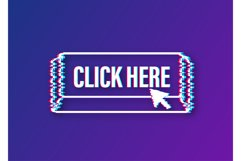 Click here button with hand pointer clicking. Glitch icon. Product Image 1