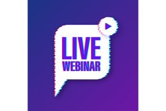 Live webinar button with megaphone, icon. Glitch icon. Product Image 1