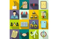Office teamwork icons set, flat style Product Image 1