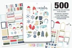 500 Winter & Christmas Digital & Printable Planner Stickers Product Image 1