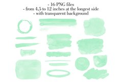 Mint green watercolor washes Watercolor stains clipart Product Image 2