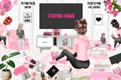STAY HOME CLIPART - Fashion Girl Planner Graphics Product Image 1