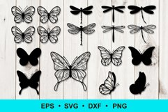 Butterfly and Dragonfly Silhouette Outline Clip art Product Image 1