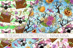 Cute Halloween Seamless Patterns, Bats Digital Papers Pack Product Image 4