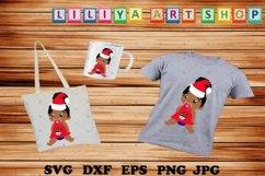 Christmas Afro Baby Girl svg,Santa hat svg,Afro peeking girl Product Image 1