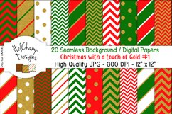 20 seamless Digital Papers - Christmas with Gold - HC006 Product Image 1