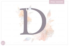 Letter D Floral MONOGRAM - dusty color flower initial Product Image 1