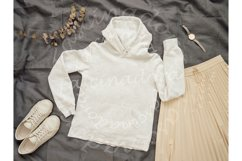 White hoody mock up, copy space for print design Product Image 1