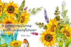 Sunflower Watercolor Clipart. Summer boho flower, bird Product Image 1