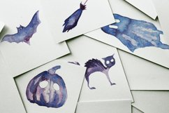 17 Watercolor Purple Halloween PNG Clipart Illustrations Product Image 3