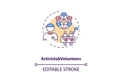 Activists and volunteers concept icon Product Image 1