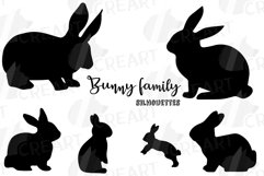 Rabbit family silhouettes, bunny silhouette svg cutting file Product Image 3