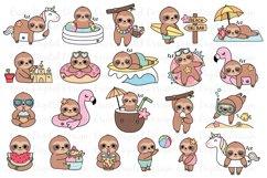 Summer Sloths clipart set - 20 Funny sloth images - Bundle Product Image 1