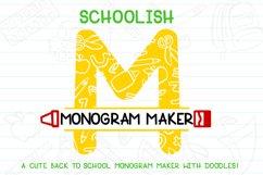 Schoolish Monogram Maker| Back to school font|Free Doodles Product Image 1
