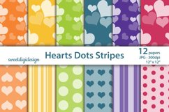 Hearts, polka dots, stripes seamless digital paper Product Image 1