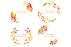 Fall decor clipart Watercolor autumn wreath Invitation decor Product Image 2