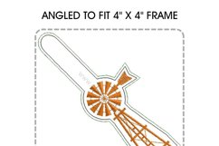 African Farmhouse Windmill Key Fob Embroidery Design Product Image 4