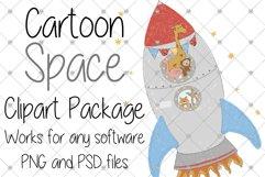 Space, Animal, Cartoon, Nursery, Rocket, Clipart, Boys, Product Image 1