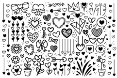 Cartoon Doodle Heart Clip Art Set Product Image 1