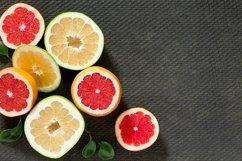 Citrus set of grapefruit and fresh mint on gray background. Product Image 1