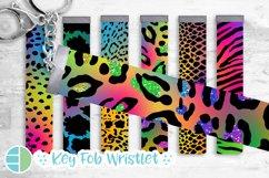 Rainbow Key Fob Wristlet Sublimation Bundle Leopard Product Image 1