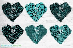 Animal Print Black and Teal Glitter Heart Distressed Heart Product Image 2