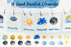 Sky Wonder, Watercolor Clip Art Set! Patterns, Backgrounds! Product Image 2