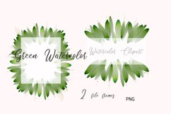 Foliage Clipart Green Watercolor Frame Product Image 3
