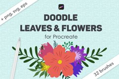Doodle leaves procreate brushes, foliage stamps Product Image 1