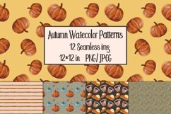 Watercolor Autumn Seamless Patterns Product Image 1