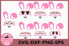 Bunny Easter SVG, Bunny Face Clipart, Glasses Svg, Bunny Product Image 1