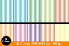 10 Pastel Stripe Patterns - Scrapbook Paper - 12x12 inches Product Image 2