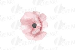 Blush watercolor floral wedding clip art, pink flowers leafs Product Image 10