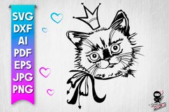 Cat with crown svg silhouette Product Image 1