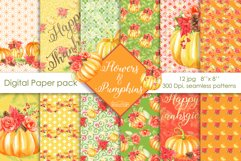 Pumpkins and flowers digital paper pack Product Image 1