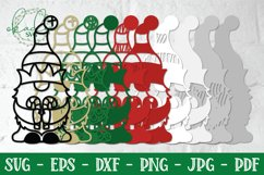 3D Christmas Gnome Bundle, Layered Gnome, 3D Gnome SVG, DXF Product Image 2