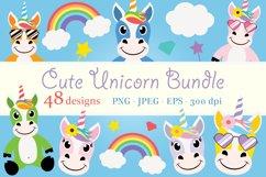 Cute Unicorn Clipart Bundle, Magical Horses, PNG, JPEG, EPS Product Image 1
