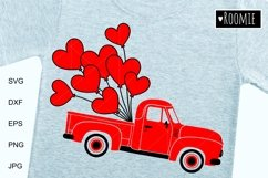 Valentine heart truck Svg, Retro car, i love you Shirt, Card Product Image 1