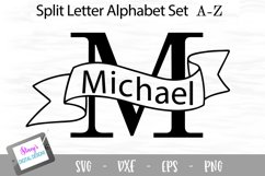 Split Letters A-Z - 26 Split Monogram SVG files with banners Product Image 1