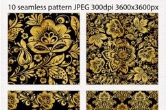 Floral gold seamless pattern. Hohloma. Product Image 2