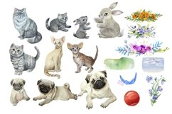 Mom and baby animals, watercolor clipart,Mothers day Product Image 2