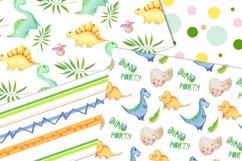 Watercolor Dinosaur Patterns, Cute Dinosaur Digital Papers Product Image 5